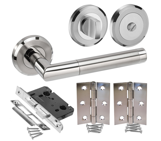 Designer Bathroom Door Handle Sets With Lock Turn And Hinges