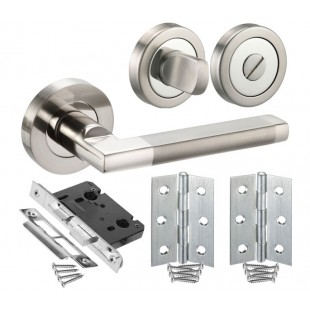 Bathroom Door Handle Sets with Square Lever Handles, Lock, Turn and Hinges H750023D HB1