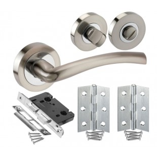Chrome Door Handle Pack for Bathroom Doors with Lock, Turn and Hinges H750025D HB1