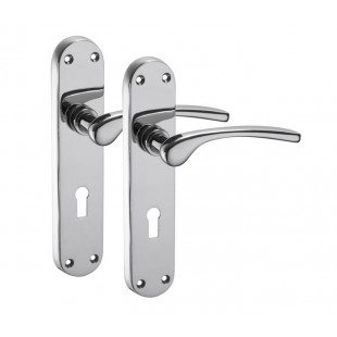 Chrome Door Handles on Lock Backplate with Polished Chrome Finish H750313P