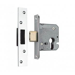 Euro Deadlock Cylinder Lockcase in Satin Stainless Steel SEU524-2