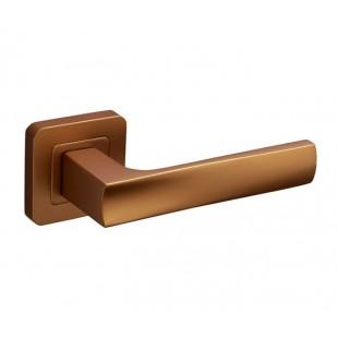 Square Rose Door Handles with Satin Brass Finish F3410SB