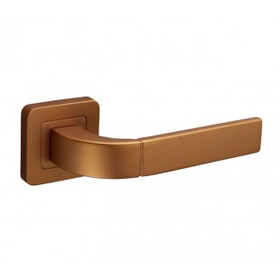 Door Handles on Square Rose with Satin Brass Finish F3510SB