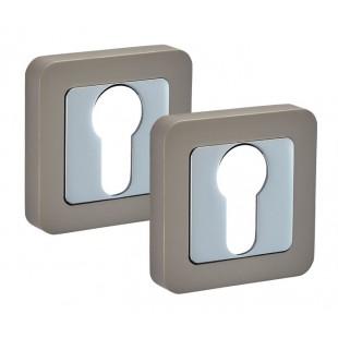 Square Keyhole Escutcheon Pair with Euro Profile in Duo Satin Chrome F8510DSC