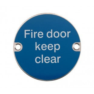 Fire Door Keep Clear Sign Satin Stainless Steel X2023S