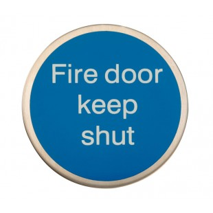Adhesive Fire Door Keep Shut Sign Satin Stainless Steel X22120S