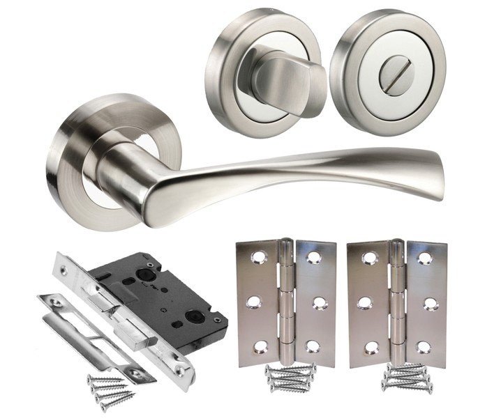 Chrome Bathroom Door Handle Pack With Lock Turn And Hinges