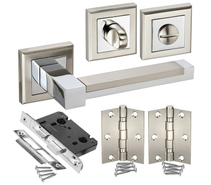 Square Rose Bathroom Door Handle Packs with Lock, Turn and Hinges ...