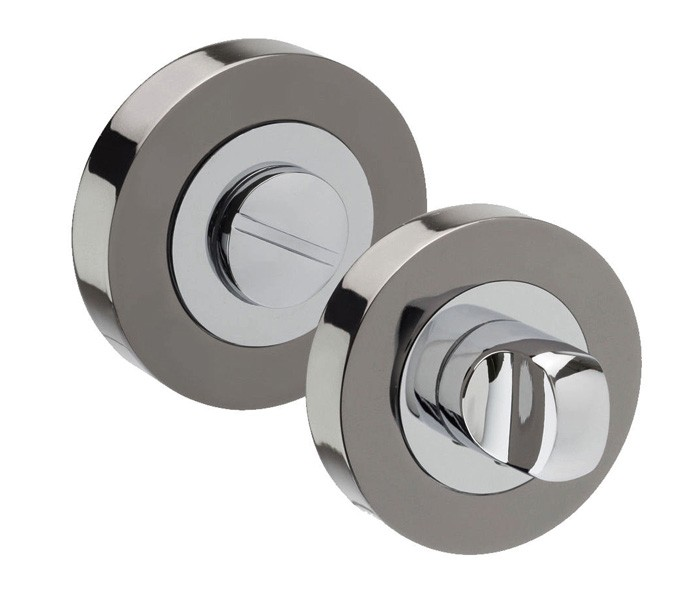 Thumb Turn Lock For Bathroom Doors With Black Nickel And Polished