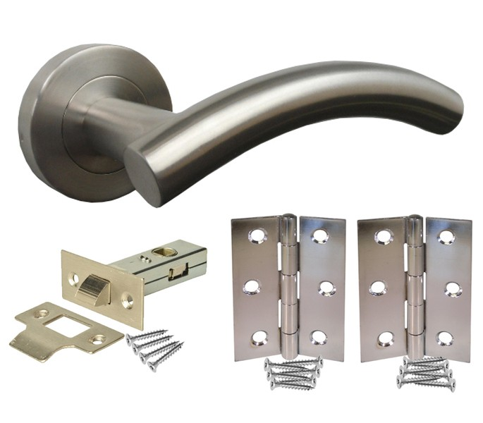 Door Handle Pack with Brushed Steel Handles, Latch and Hinges ...