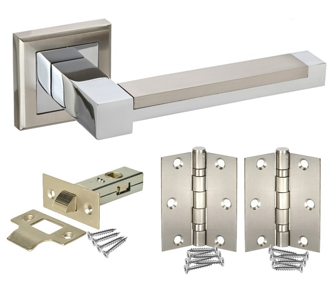 Square Rose Door Handle Packs with Latch and Hinges - Handle King UK