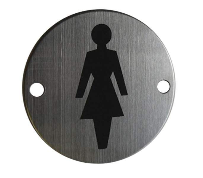 More Views. Female Toilet Door Sign   Symbol Satin Stainless Steel A2002S
