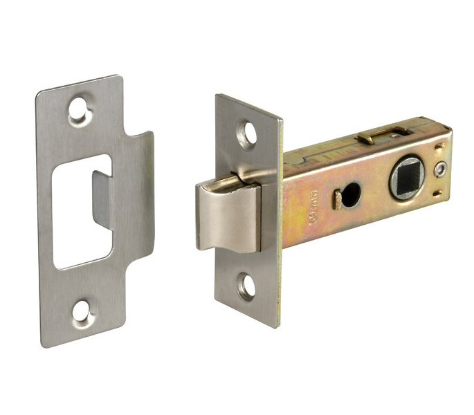 door locks. bolt through tubular mortice door latch 63mm satin nickel plated l22163np locks n