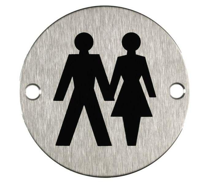Unisex Toilet Door Sign Symbol Satin Stainless Steel A2004s