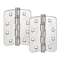 4 Inch Hinges with Radius Corners in Satin Stainless Steel H402S