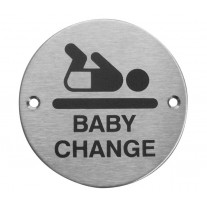 Baby Change Sign for Doors with Brushed Stainless Steel Finish A2007S