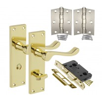 Brass Bathroom Door Handle Packs with Scroll Lever on Lock Backplate H751014PB HB1