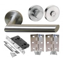 Bathroom Door Handle Packs with Mitred Brushed Steel Door Handles H730014S HB1