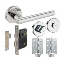 Bathroom Door Handle Pack with Polished Stainless Steel T Bar Lever Handles H730013P HB1