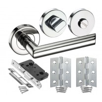 Door Handle Set for Bathroom Doors with Mitred Lever Door Handles H730014P HB1