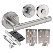 Door Handle Packs for Bathroom Doors with Brushed Stainless Steel Handles H730015S HB1