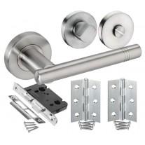 Door Handle Packs for Bathroom Doors with Brushed Stainless Steel Handles H730015S HB1
