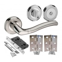 Bathroom Door Handle Sets with Stainless Steel Handles, Lock, Turn and Hinges H730030D HB1