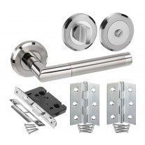 Designer Bathroom Door Handle Sets with Lock, Turn and Hinges H730033D HB1