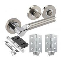 Modern Door Handle Pack for Bathroom Doors with Lock, Turn and Hinges H750044D HB1
