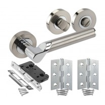 Duo Chrome Door Handle Sets for Bathroom Doors with Lock, Turn and Hinges H750041D HB1