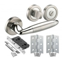 Chrome Bathroom Door Handles Set with Lock, Turn and Hinges H750042D HB1
