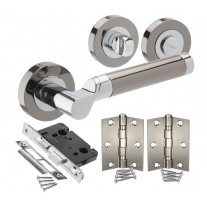 Black Nickel Handle Packs for Bathroom Doors with Lock, Turn and Hinges H750043D HB1