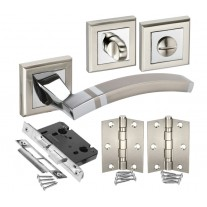 Modern Door Handle Pack for Bathroom Doors with Square Rose Handles H750060D HB1