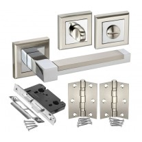 Square Rose Bathroom Door Handle Packs with Lock, Turn and Hinges H750061D HB1