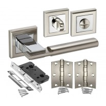 Square Rose Bathroom Door Handle Set with Lock, Turn and Hinges H750062D HB1