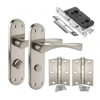 Bathroom Door Handle Packs with Left Hand Door Handles on Backplate H751224SL HB1
