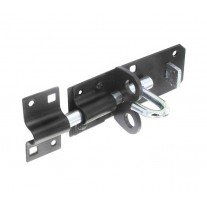 Black Tower Bolt with Padlock Security 200mm B1413