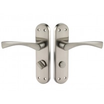 Bathroom Door Handles on Left Hand Radius Backplate with Thumb Turn H751224SL