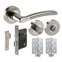 Curved Bathroom Door Handle Pack with Lock, Turn and Hinges H750024D HB1