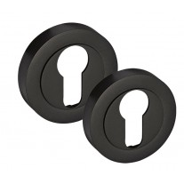 Euro Keyhole Cover Pair in Matte Black Euro Profile Escutcheons D8510BL
