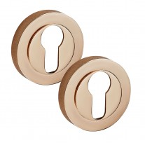 Copper Escutcheon Pair with Euro Profile D8510CU