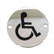 Disabled Toilet Sign for Toilet Doors in Polished Stainless Steel A2003P