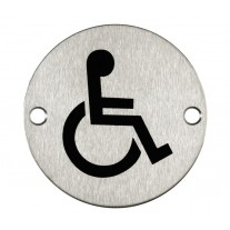 Disabled Toilet Door Sign / Symbol Satin Stainless Steel A2003S