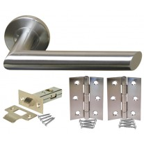 Brushed Stainless Steel Door Handle Packs with Latch and Hinges H730014S HL1
