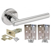 Door Handle Pack with Polished Stainless Steel T Bar Lever Handles, Latch & Hinges H730013P HL1