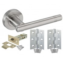 Door Handle Sets with Brushed Stainless Steel Handles, Latch and Hinges H730015S HL1