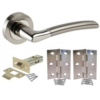 Curved Chrome Door Handle Packs with Latch and Hinges H750024D HL1