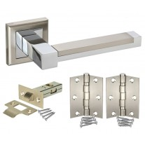 Square Rose Door Handle Packs with Latch and Hinges H750061D HL1