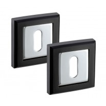 Square Escutcheon Plate Pair in Dual Black and Chrome Standard Keyhole Profile A8641PCB
