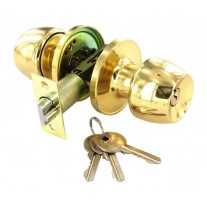 Entrance Door Knobs in Polished Brass with Key Lock B2950